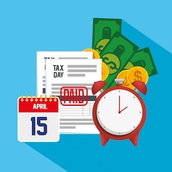 Impuesto del día 15 de abril. servicio de informe fiscal de finanzas con calendario