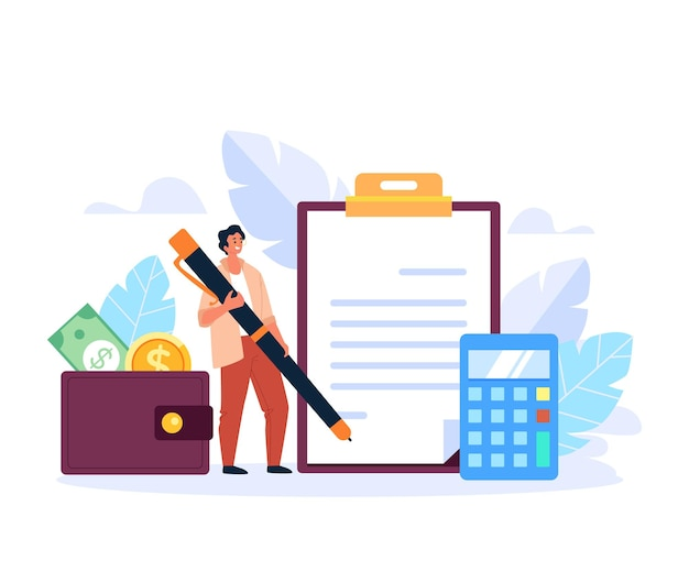 Impuesto en espera pasivo aumento concepto de compensación de dinero ilustración de diseño gráfico plano