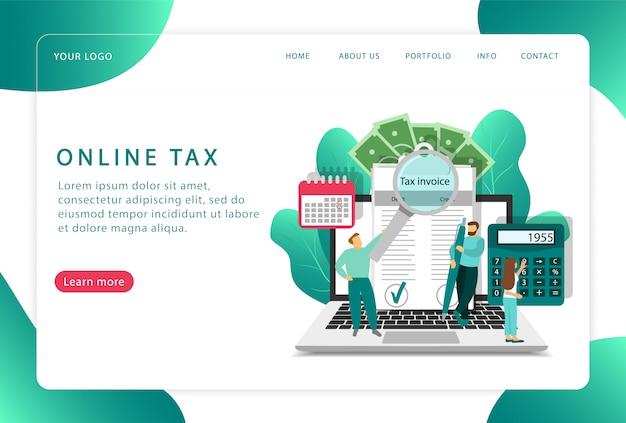 Impuesto en línea. revisión de cuentas. página de destino. páginas web modernas para sitios web.