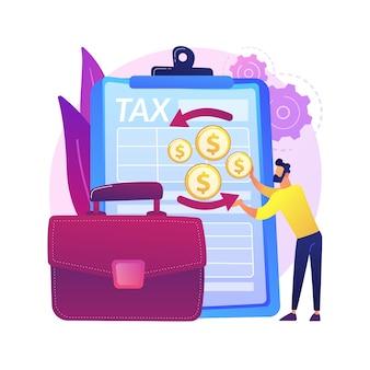 El impuesto sobre la renta de sociedades devuelve la ilustración del concepto abstracto formulario de declaración de renta de la empresa, contabilidad de sociedades, preparación de impuestos, actividad financiera, impuestos corporativos.