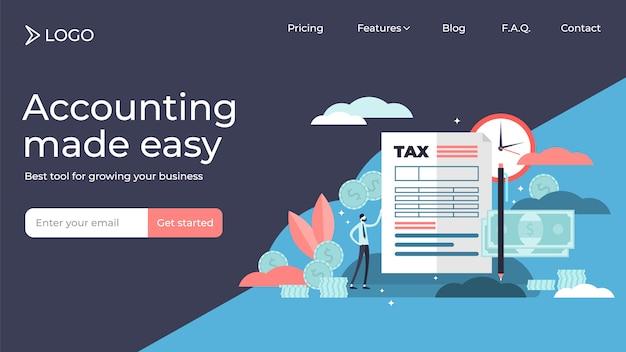 Impuestos planos pequeñas personas ilustración vectorial diseño de plantilla de página de destino.