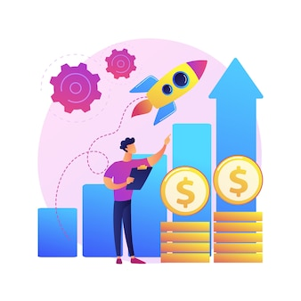 Impulsar la ilustración del concepto abstracto de ventas. promocione el producto en línea, la estrategia de marketing digital, el plan de ventas, impulse su negocio, aumente las ventas, el compromiso del cliente.
