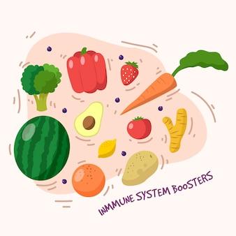 Impulsores del sistema inmunitario con frutas