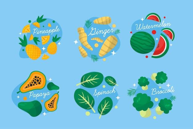 Impulsores del sistema inmunitario con verduras y frutas.