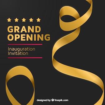Inauguración elegante con cinta dorada