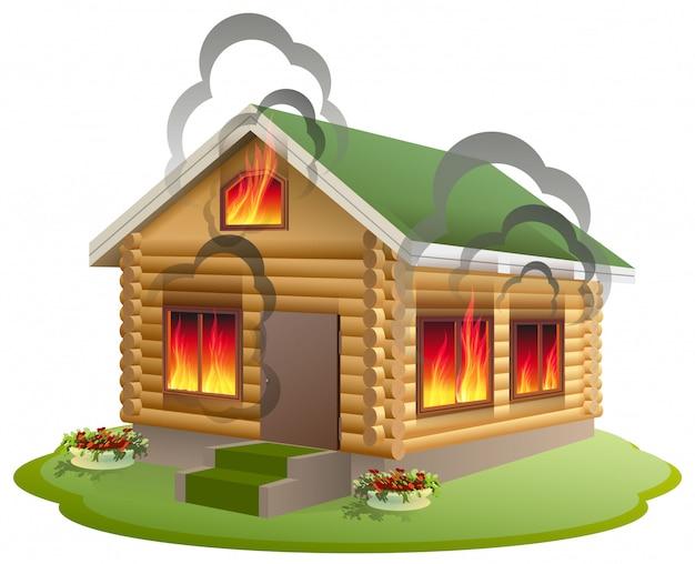 Incendio de casa de madera. casa de madera en llamas. seguro de propiedad