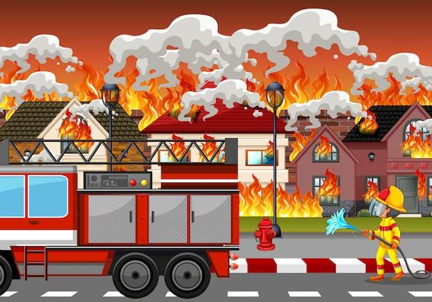 Incendio desastre en el pueblo