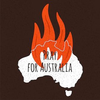 Incendios forestales en australia. reza por sydney y reza por australia ilustración