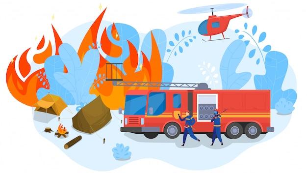 Incendios forestales que comienzan en el campamento, los bomberos vienen a rescatar, ilustración de personas