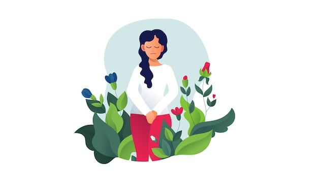 Incontinencia urinaria, cistitis, micción involuntaria mujer ilustración vectorial. problemas de vejiga. menopausia, salud de la mujer, infección genital, higiene. problemas femeninos