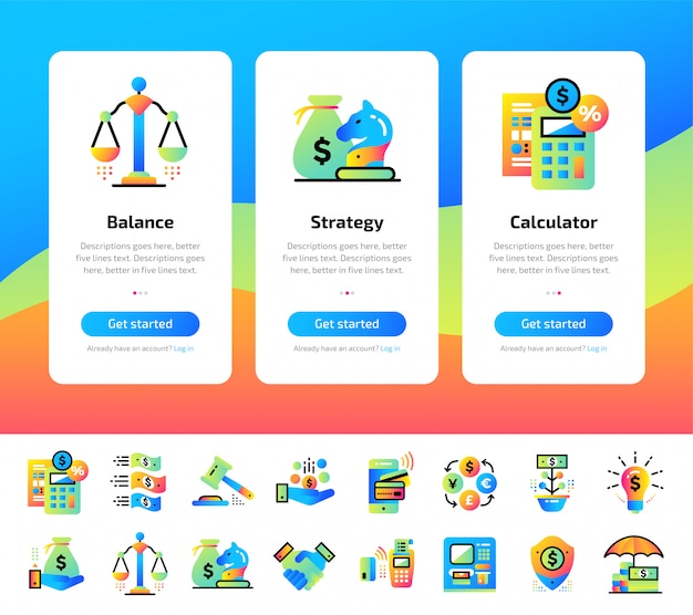 Incorporación de pantallas de aplicaciones de finanzas, conjunto de iconos bancarios.