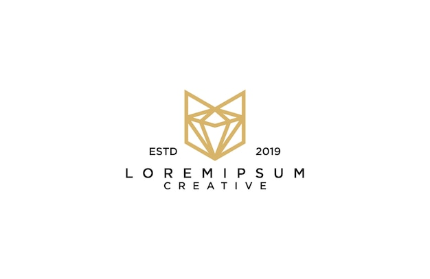 Increíble arte de línea zorro con logotipo de diamante
