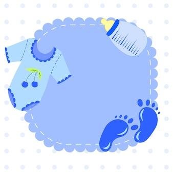 Increíble conjunto de baby shower o llegada. etiquetas, pancartas, etiquetas, tarjetas con ilustración de niños lindos.