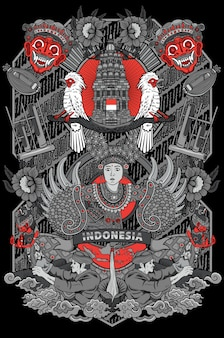 Increíble cultura de la ilustración de indonesia en marco vintage