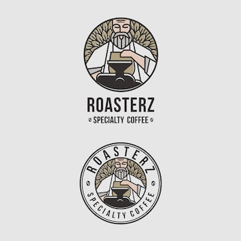 Increíble emblema con logo para cafeterías