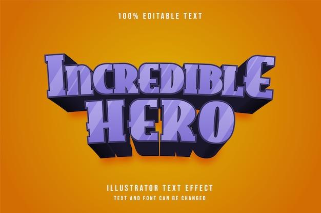 Increíble héroe, efecto de texto editable en 3d, gradación púrpura, estilo de patrón negro