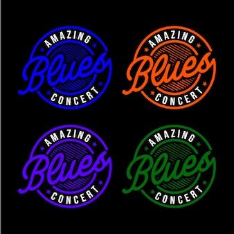 Increíble maravilloso concepto de logotipo de concierto de blues
