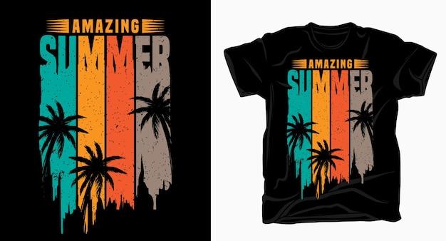 Increíble tipografía de verano para diseño de camisetas.