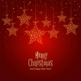 Increíbles brillantes estrellas colgantes de navidad sobre fondo rojo.