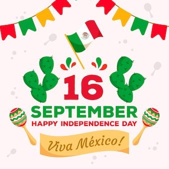 Independencia de méxico con bandera y cactus