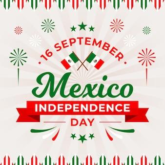 Independencia de méxico con banderas y fuegos artificiales
