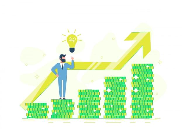 Independiente, un programador gana dinero. hombre de negocios de la oficina en una pila de moneda que muestra un dólar de oro. oferta de crédito, inversión bancaria o refinanciación. ilustración plana