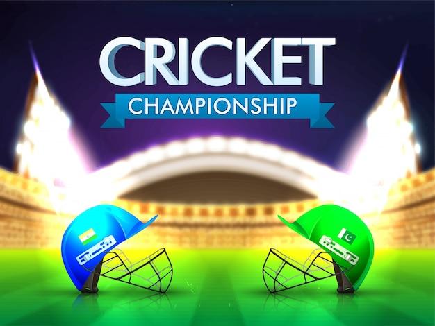 India contra el paquistaní concepto del emparejamiento del grillo con los cascos del batsman en fondo brillante del estadio.