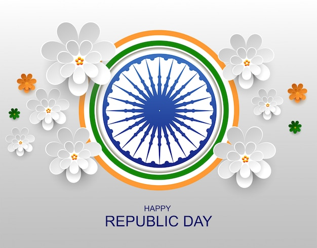 India feliz república día tarjeta de felicitación flor de papel