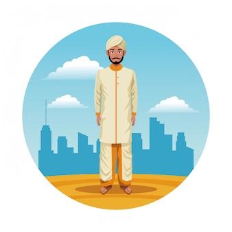India india hombre redondo icono de dibujos animados