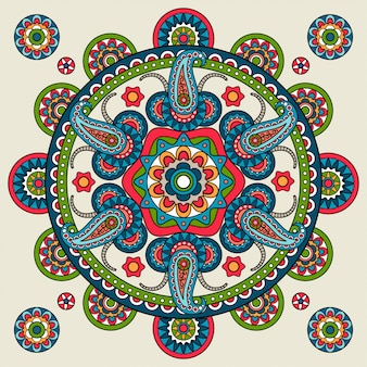India mandala de paisley dibujado a mano