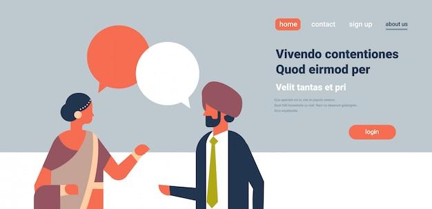 India pareja chat burbujas comunicación banner