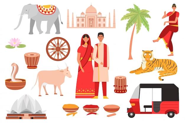 India, símbolos de la cultura india, viaje conjunto con budismo, objetos turísticos y comida del país, arquitectura y conjunto de ilustraciones aisladas de personas.