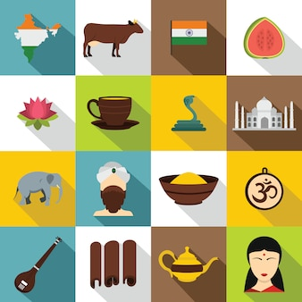 India viajes conjunto de iconos, estilo plano
