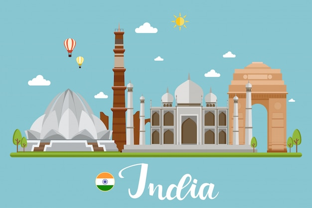 India viajes paisaje vector illustration