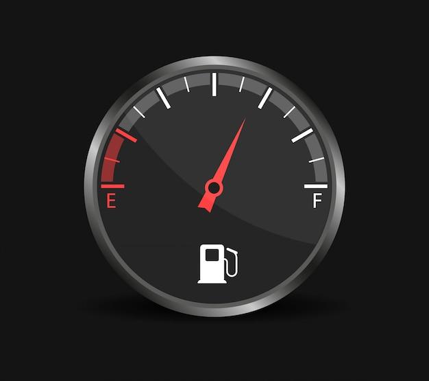 Indicador de combustible. depósito de combustible. tablero de instrumentos en el coche. .