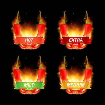 Indicador de escala de fuerza de pimiento rojo picante con posiciones suaves, medias, picantes e infernales. ilustración vectorial