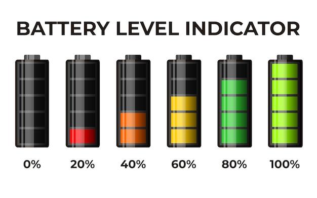 Indicador de nivel de batería del conjunto de icono realista 3d