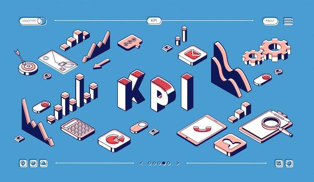 Indicadores clave de rendimiento de kpi página de inicio isométrica, estrategia de negocios y análisis en medios tonos azules.