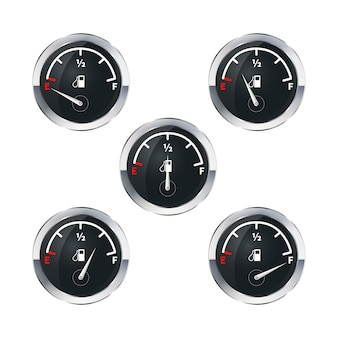 Indicadores de combustible modernos aislados en blanco