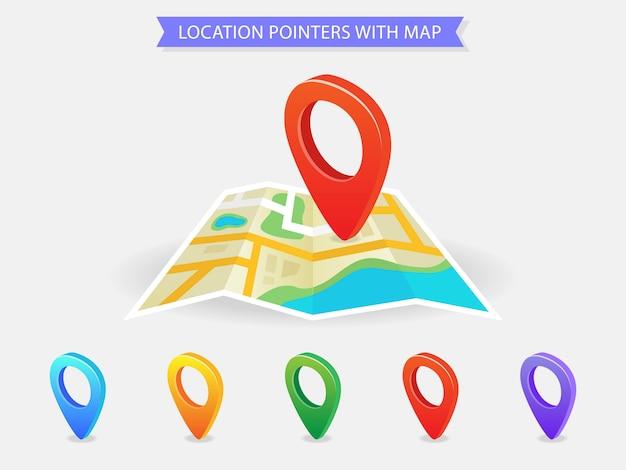 Indicadores de ubicación con mapa, iconos de ubicación coloridos