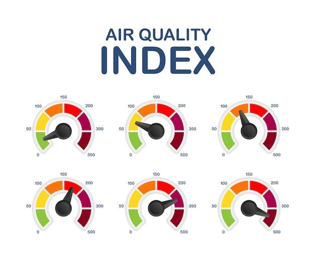 Índice de calidad del aire. esquema educativo con cantidades excesivas de sustancias o gases en el medio.