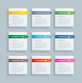 Índice de papel de rectángulo de infografía con plantilla de 9 datos.