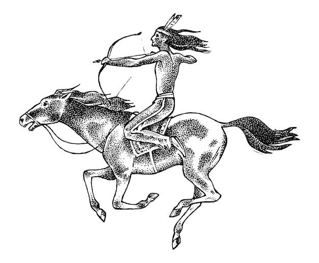 Indio nacional estadounidense montando a caballo con lanza en la mano. hombre tradicional grabado dibujado a mano en boceto antiguo.