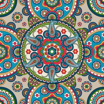 Indio paisley mandala de patrones sin fisuras