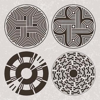 Indios de américa del norte arte tatuaje y conjunto de impresión