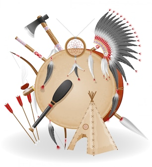 Los indios americanos concepto iconos vector illustration
