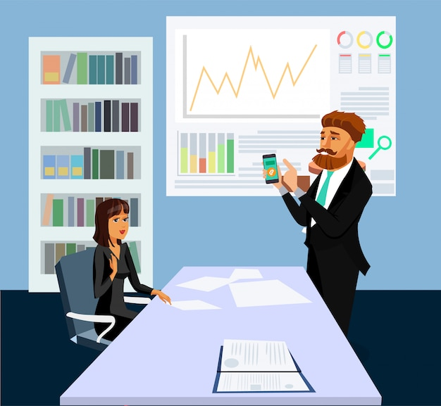 Individuo que muestra app en el dibujo del vector de la exhibición del teléfono.