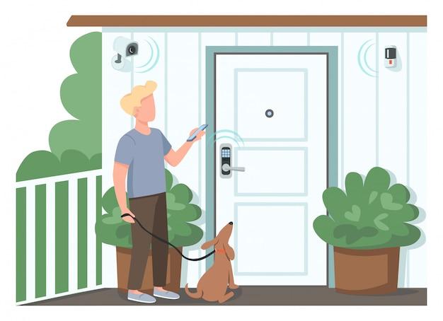 Individuo que usa el carácter sin rostro de color plano de seguridad para el hogar inteligente hombre controlando cerraduras automatizadas y cámaras de vigilancia. iot aislado ilustración de dibujos animados para diseño gráfico web y animación
