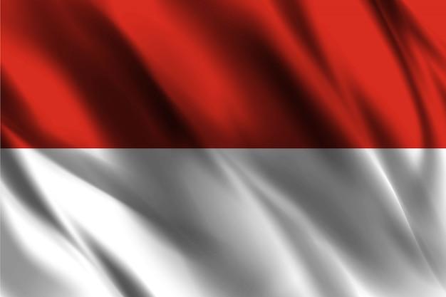 Indonesia bandera flotante fondo de seda
