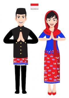 Indonesia masculino y femenino en traje tradicional, saludo de personas de indonesia y bandera de indonesia en personaje de dibujos animados de fondo blanco